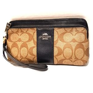 Coach Signature Large Double Zip Navy Wristlet